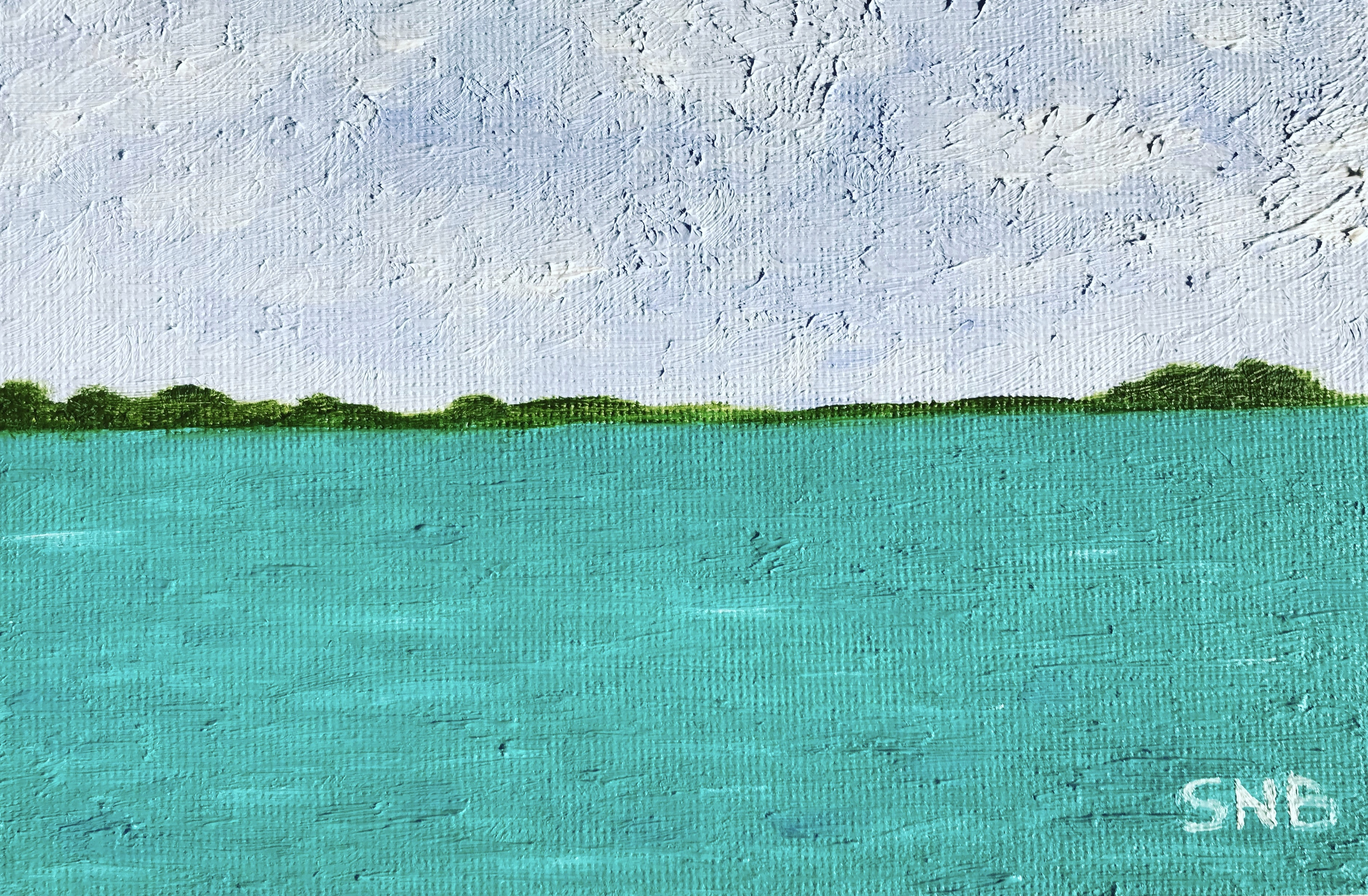 Aitutaki, a 4 x 6 Oil Painting. The Painting is of a turquise green lagoon with jungle coastline and light blue sky