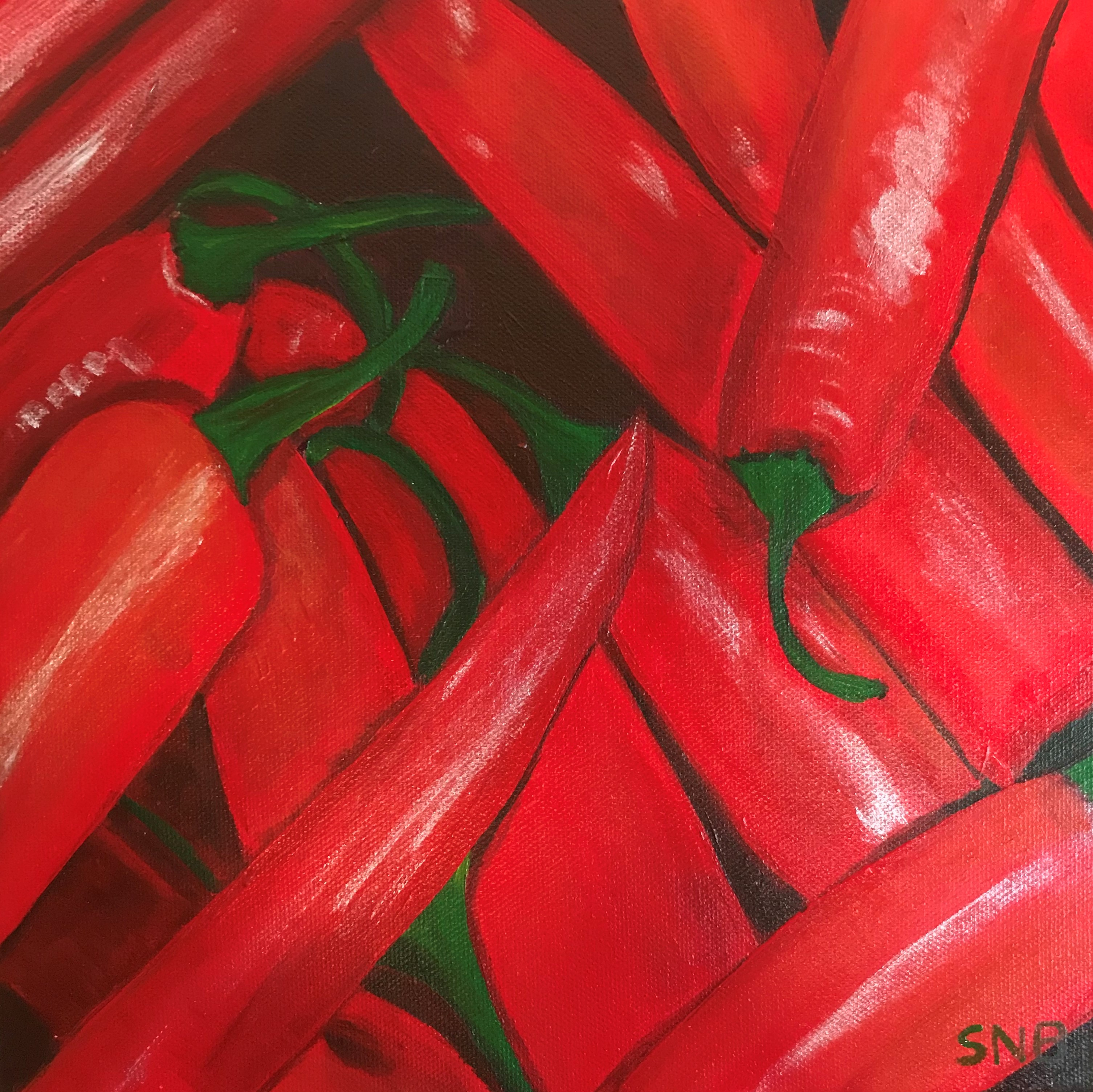 How hot do you want it? a 10 x10 Acrylic Painting on Canvas. The Painting is of red hot chili peppers arranged randomly