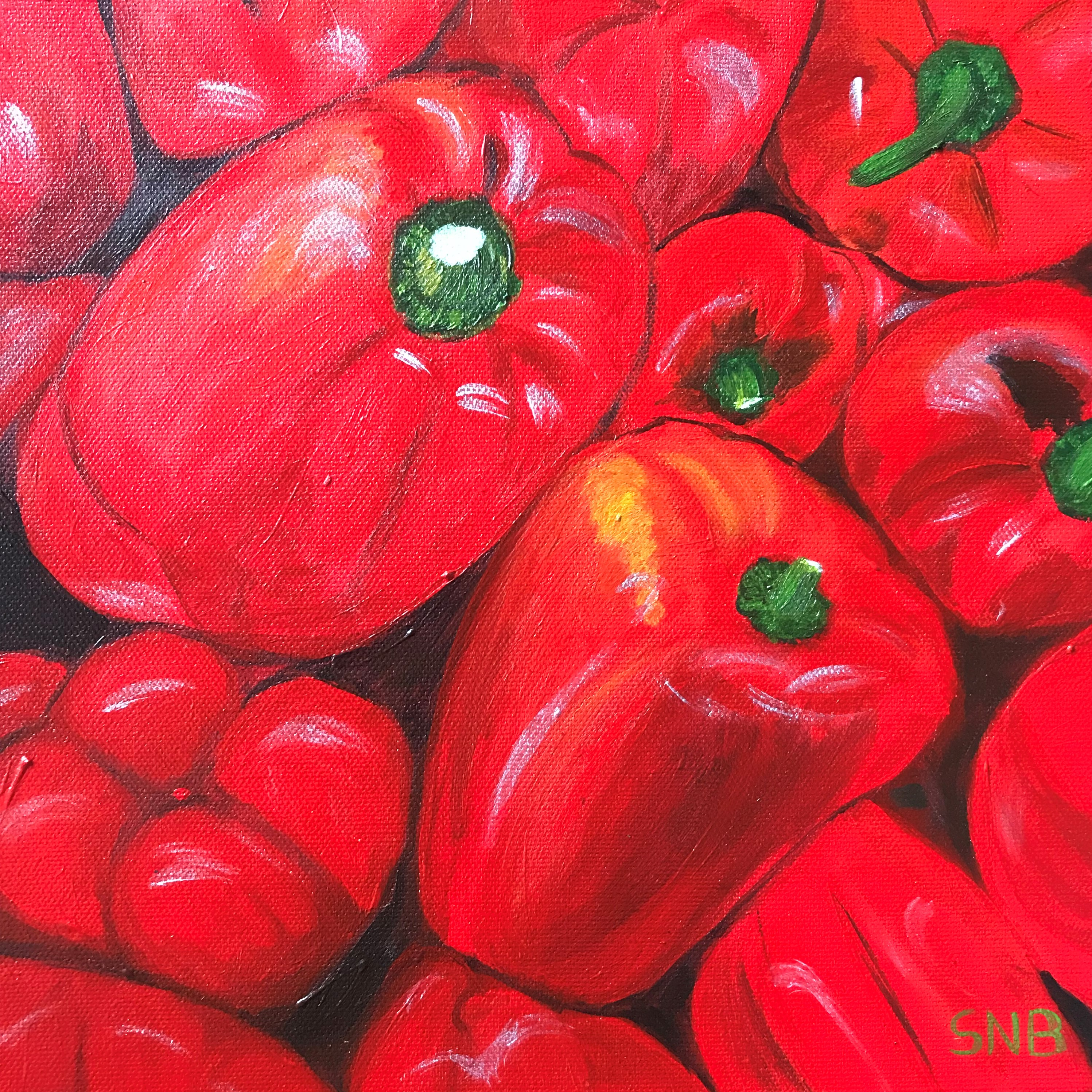 Red Peppers, a 10 x10 Acrylic Painting on Canvas. The Painting is of red bell peppers arranged randomly