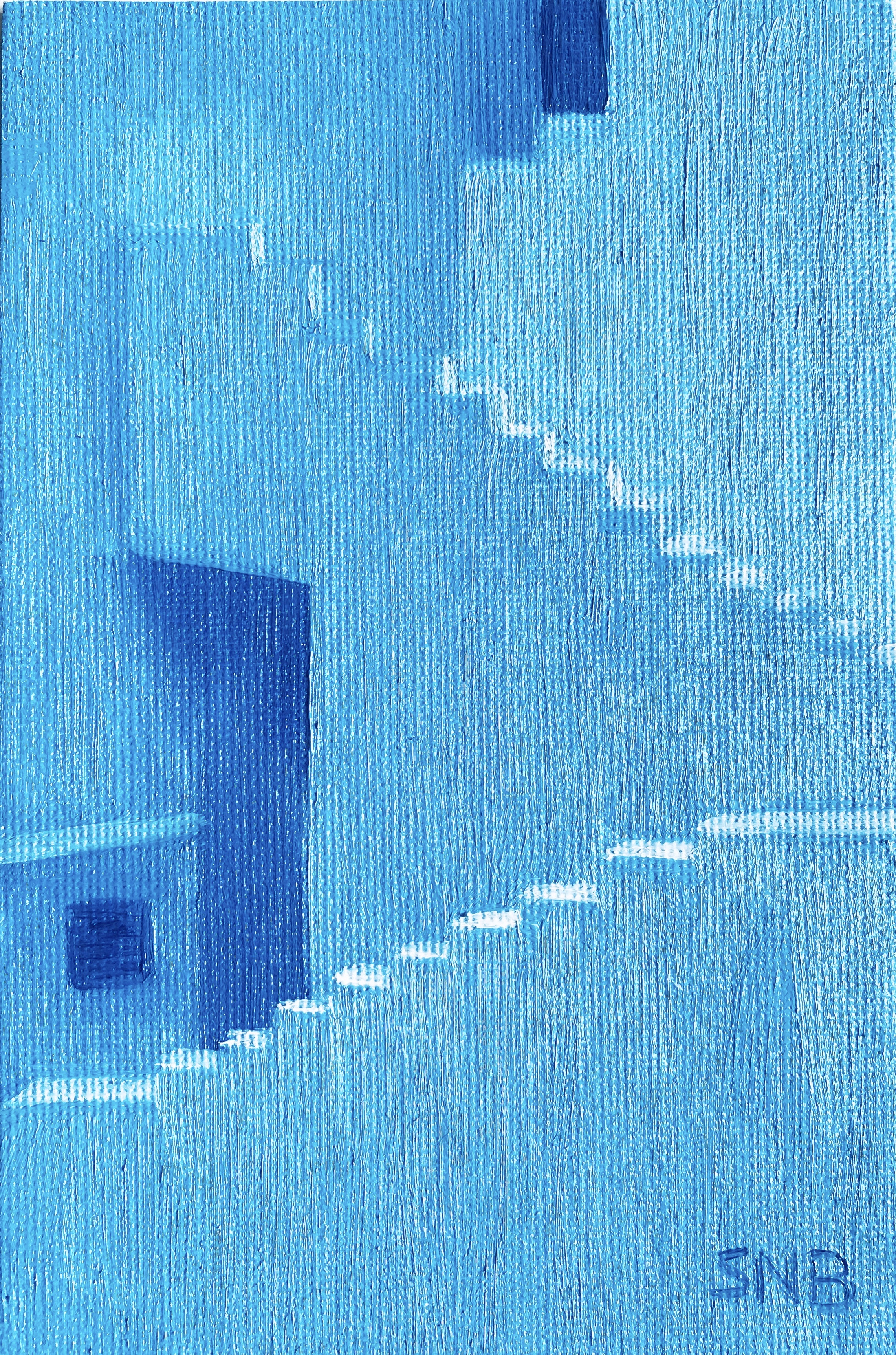 Somewhere in Spain; a 4 x 6 Oil Painting. The painting is of a building with multiple exterior stairs and doorways painted in shades of Cobolt Blue